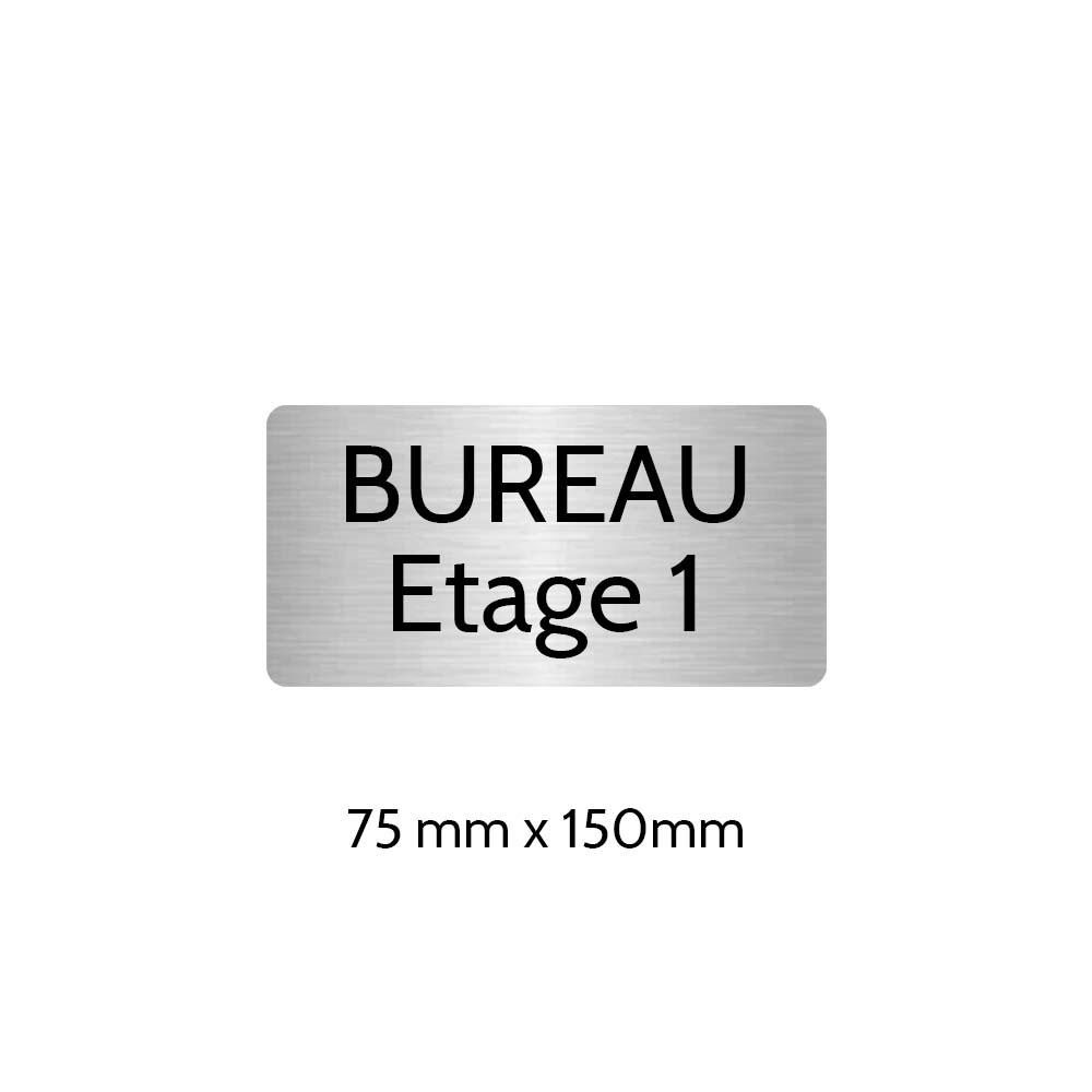 Plaque de porte gravée sur 1 à 2 lignes couleur gris argent lettres noires - Rectangle angles arrondis 75 x 150 mm
