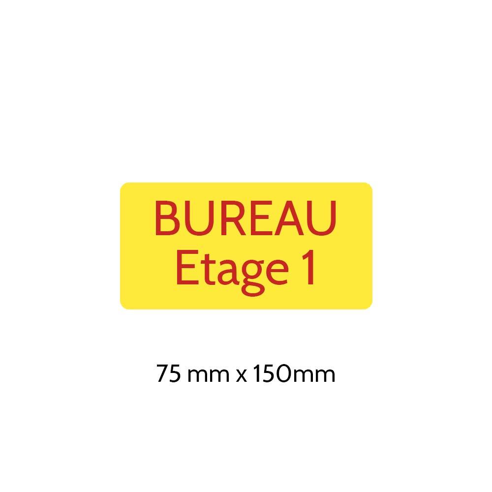 Plaque de porte gravée sur 1 à 2 lignes couleur Jaune lettres rouges - Rectangle angles arrondis 75 x 150 mm