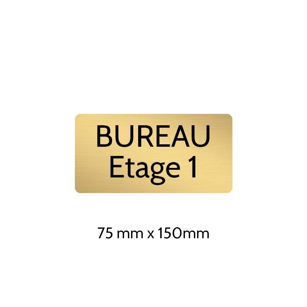 Plaque de porte gravée sur 1 à 2 lignes couleur or brossé lettres noires - Rectangle angles arrondis 75 x 150 mm
