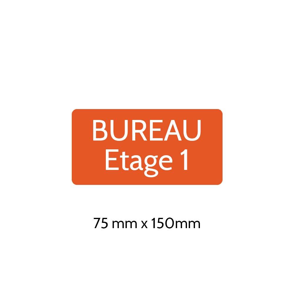 Plaque de porte gravée sur 1 à 2 lignes couleur orange lettres blanches - Rectangle angles arrondis 75 x 150 mm