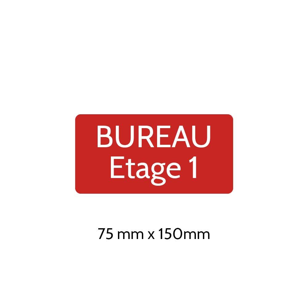 Plaque de porte gravée sur 1 à 2 lignes couleur rouge lettres blanches - Rectangle angles arrondis 75 x 150 mm