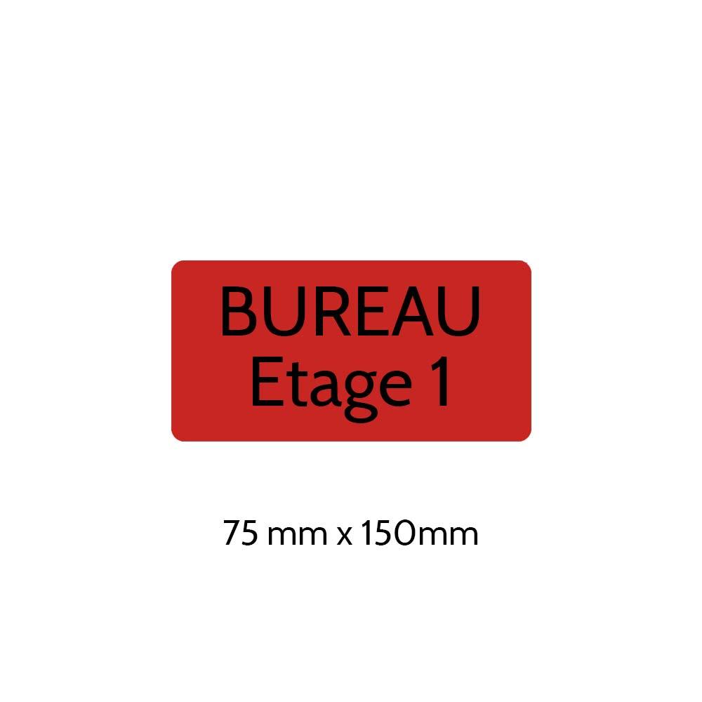 Plaque de porte gravée sur 1 à 2 lignes couleur rouge lettres noires - Rectangle angles arrondis 75 x 150 mm