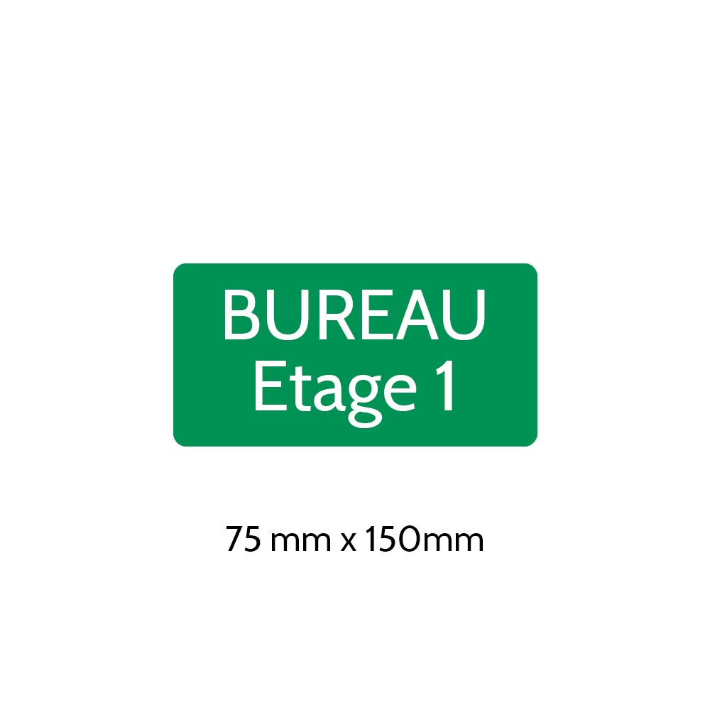 Plaque de porte gravée sur 1 à 2 lignes couleur vert clair lettres blanches - Rectangle angles arrondis 75 x 150 mm