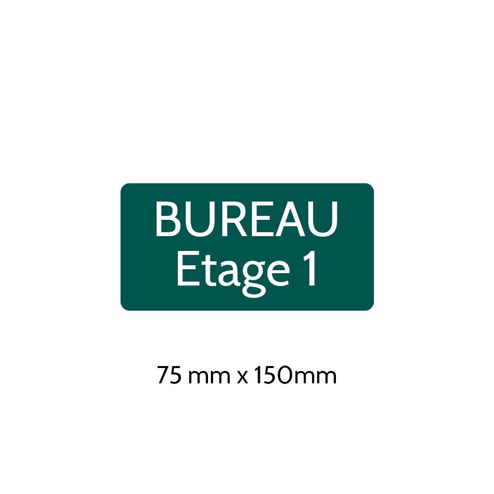 Plaque de porte gravée sur 1 à 2 lignes couleur vert foncé lettres blanches - Rectangle angles arrondis 75 x 150 mm