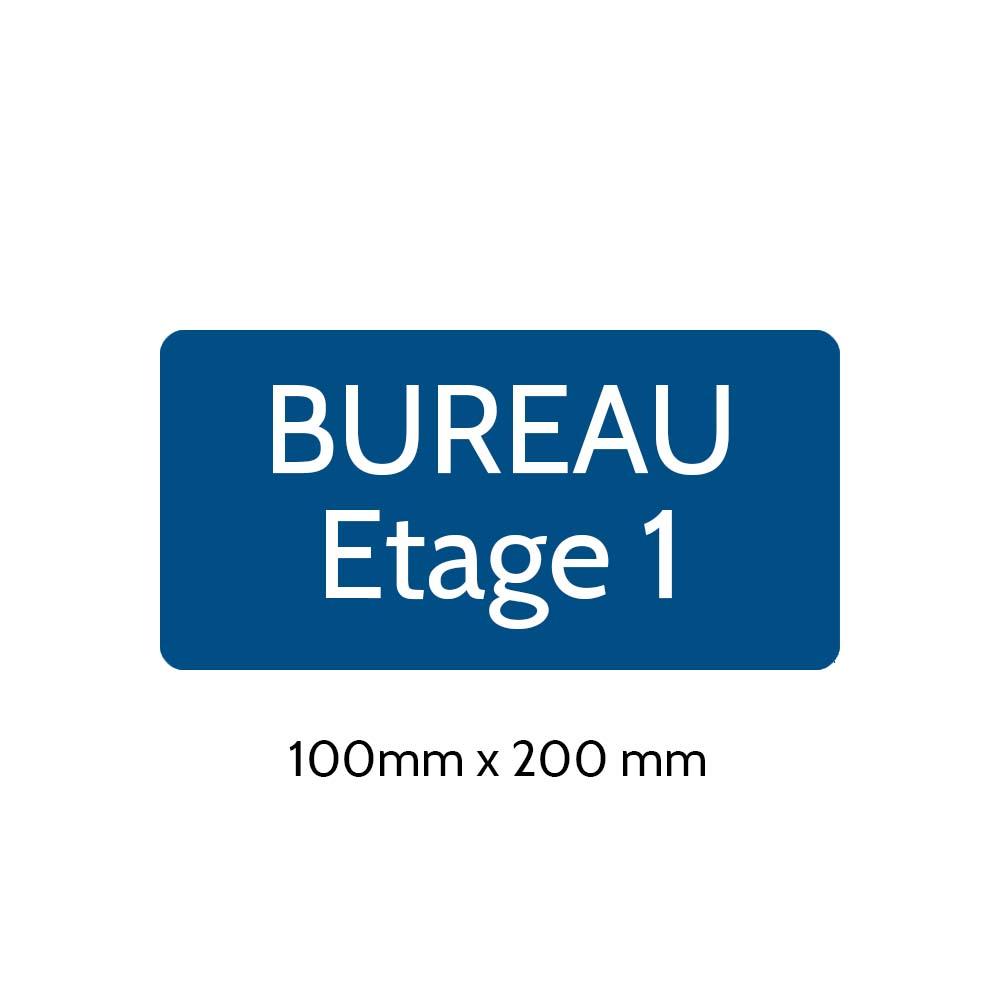 Plaque de porte gravée sur 1 à 2 lignes couleur bleue lettres blanches - Rectangle angles arrondis 100 x 200 mm
