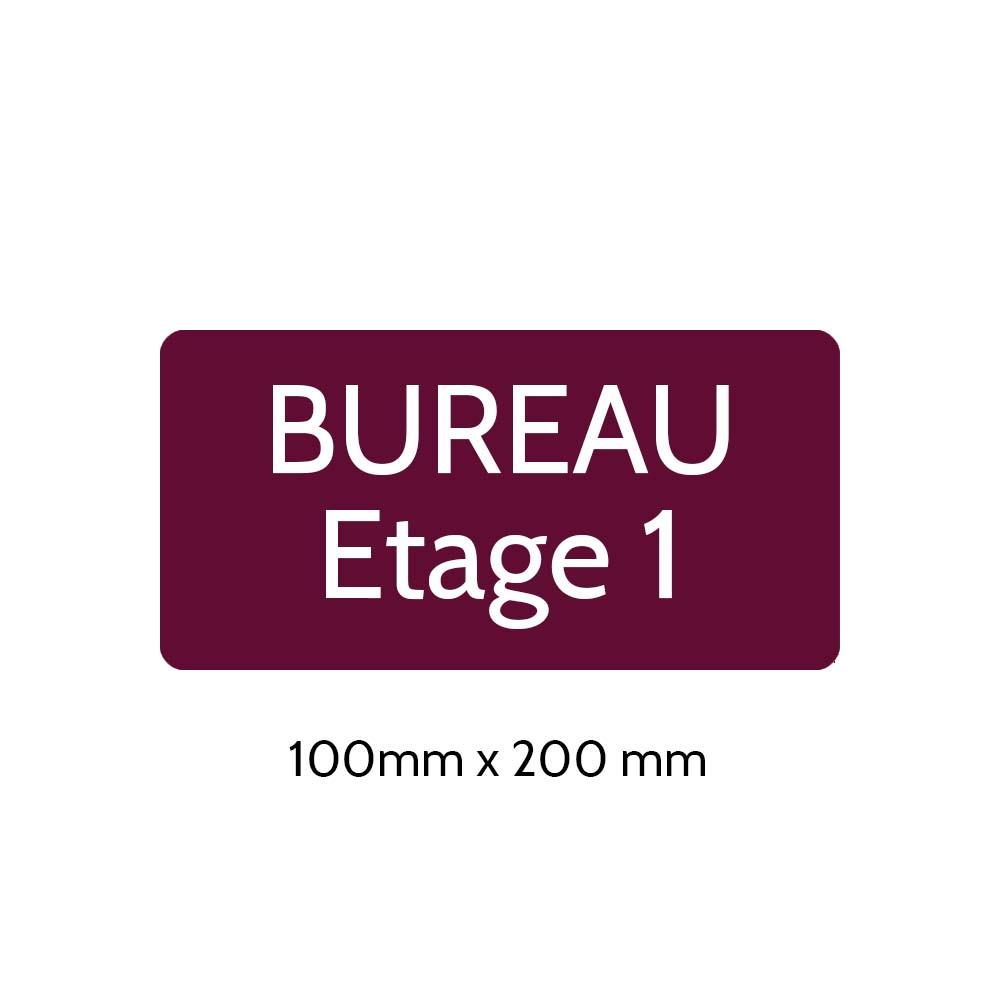 Plaque de porte gravée sur 1 à 2 lignes couleur bordeaux lettres blanches - Rectangle angles arrondis 100 x 200 mm