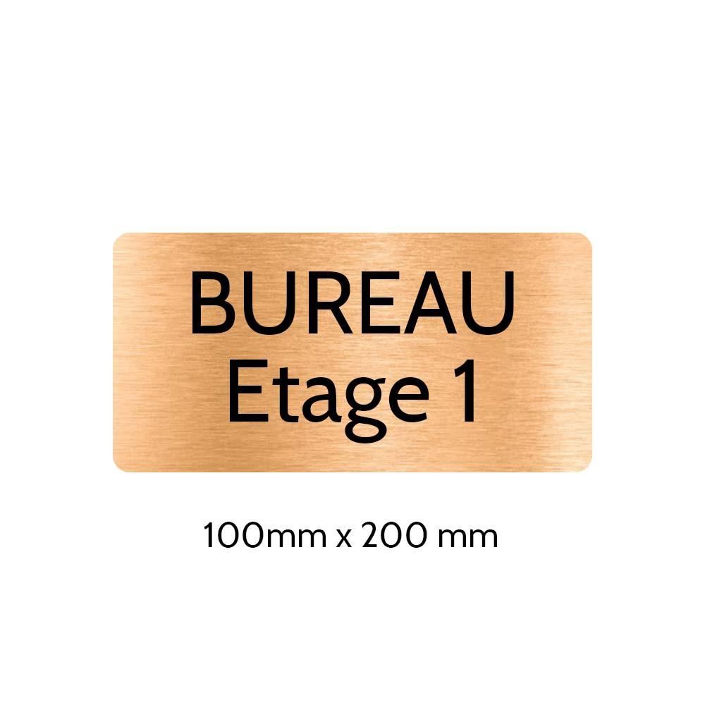 Plaque de porte gravée sur 1 à 2 lignes couleur cuivre lettres noires - Rectangle angles arrondis 100 x 200 mm