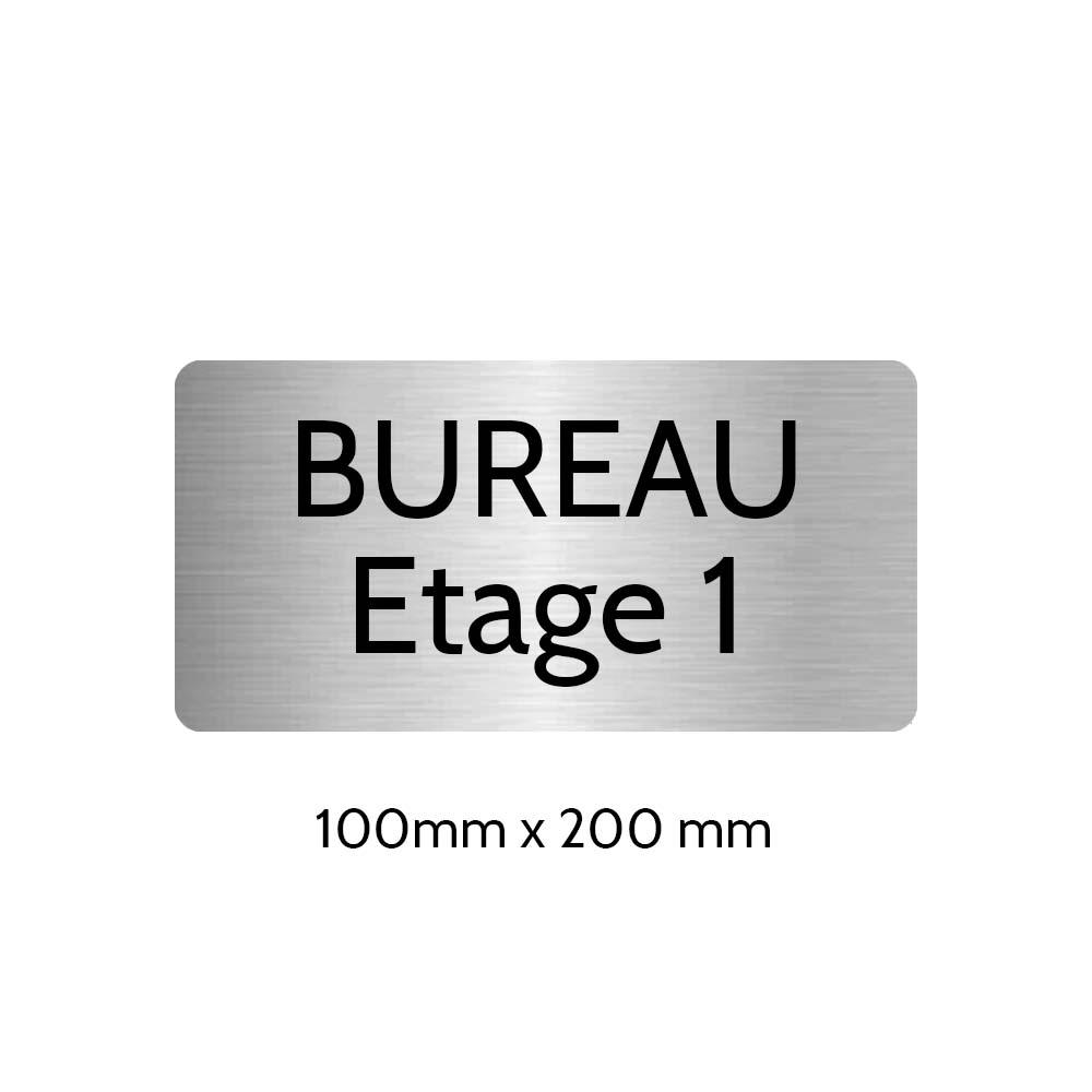 Plaque de porte gravée sur 1 à 2 lignes couleur gris argent lettres noires - Rectangle angles arrondis 100 x 200 mm