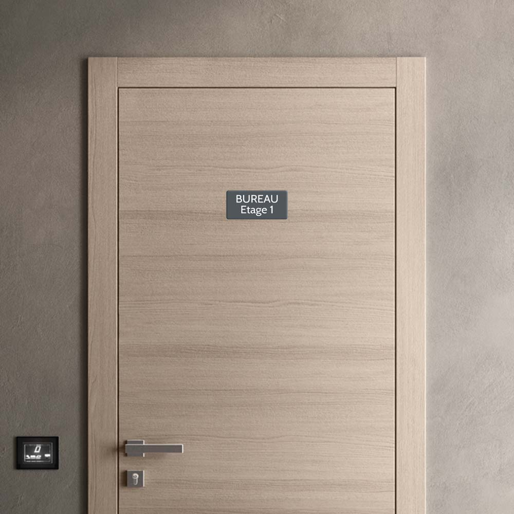 Plaque de porte gravée sur 1 à 2 lignes couleur grise lettres blanches - Rectangle angles arrondis 100 x 200 mm