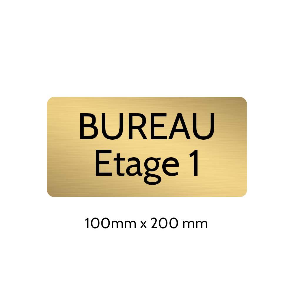 Plaque de porte gravée sur 1 à 2 lignes couleur or brossé lettres noires - Rectangle angles arrondis 100 x 200 mm