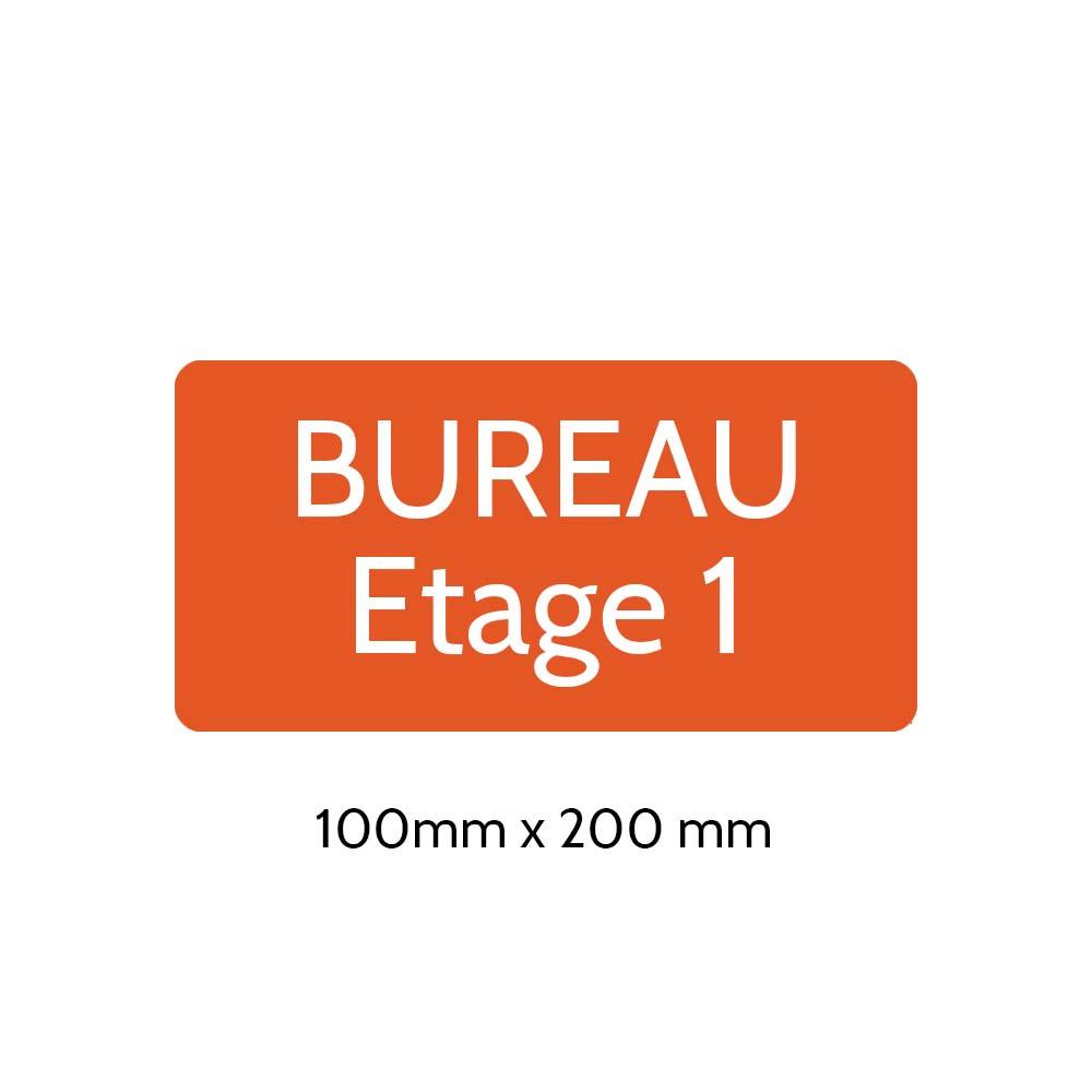 Plaque de porte gravée sur 1 à 2 lignes couleur orange lettres blanches - Rectangle angles arrondis 100 x 200 mm