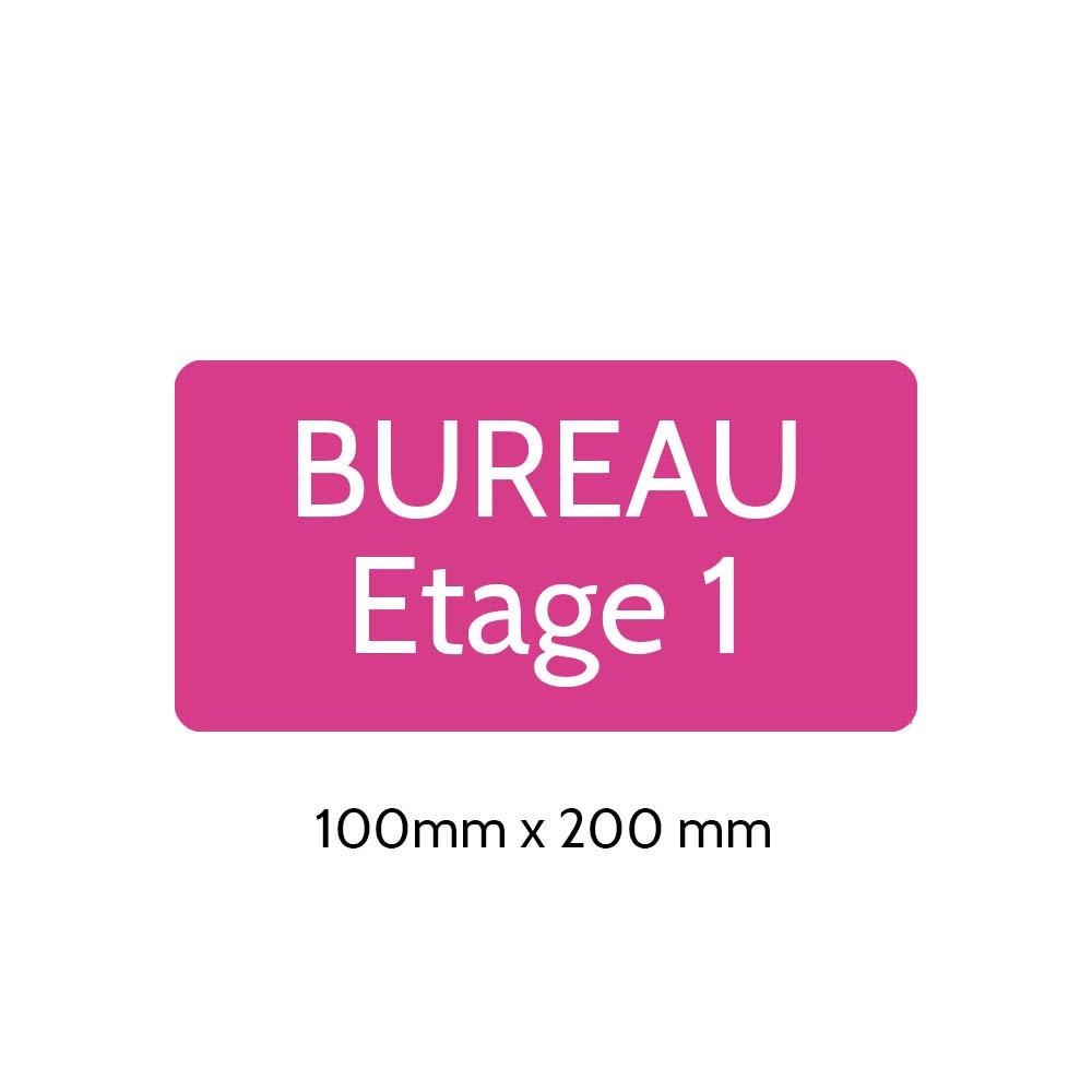Plaque de porte gravée sur 1 à 2 lignes couleur rose lettres blanches - Rectangle angles arrondis 100 x 200 mm