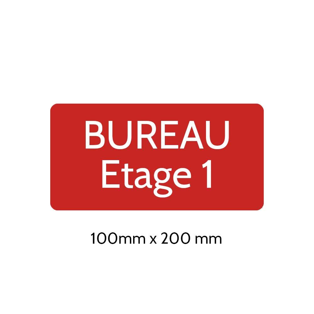 Plaque de porte gravée sur 1 à 2 lignes couleur rouge lettres blanches - Rectangle angles arrondis 100 x 200 mm