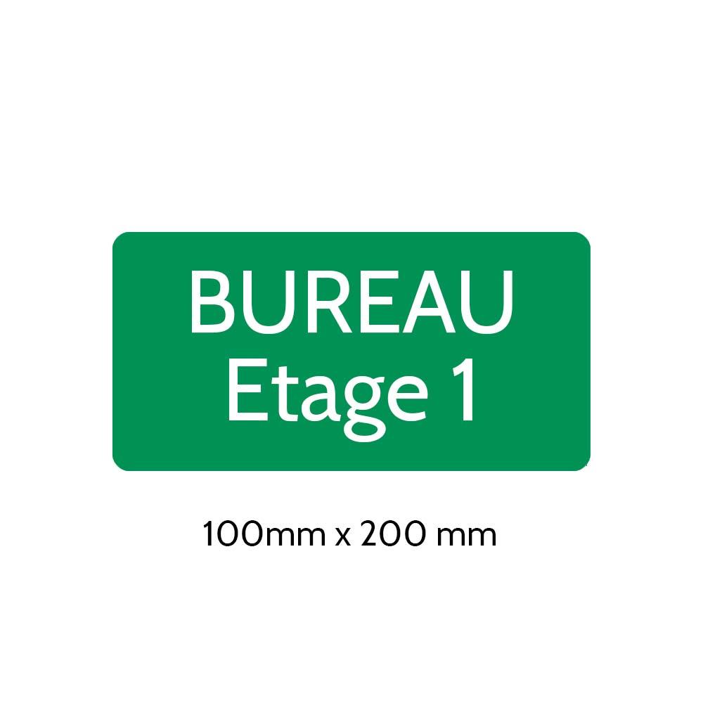 Plaque de porte gravée sur 1 à 2 lignes couleur vert clair lettres blanches - Rectangle angles arrondis 100 x 200 mm