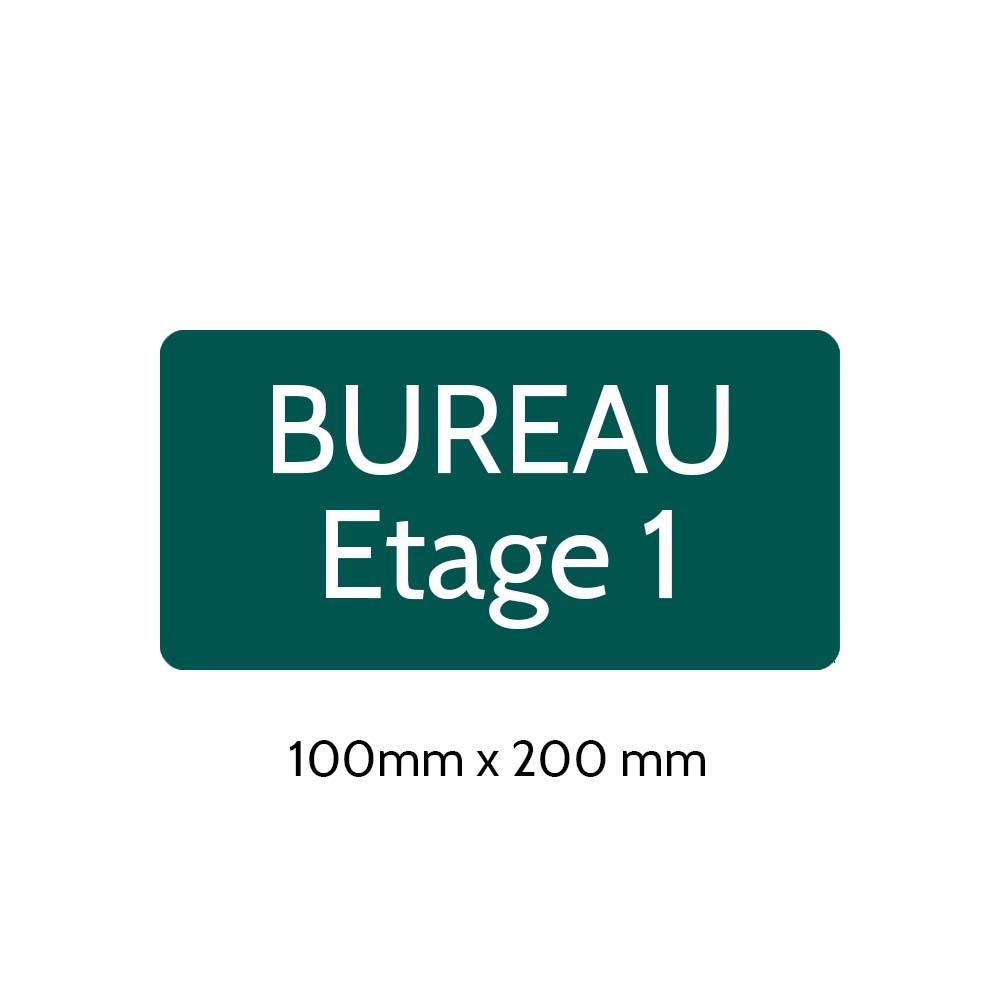 Plaque de porte gravée sur 1 à 2 lignes couleur vert foncé lettres blanches - Rectangle angles arrondis 100 x 200 mm
