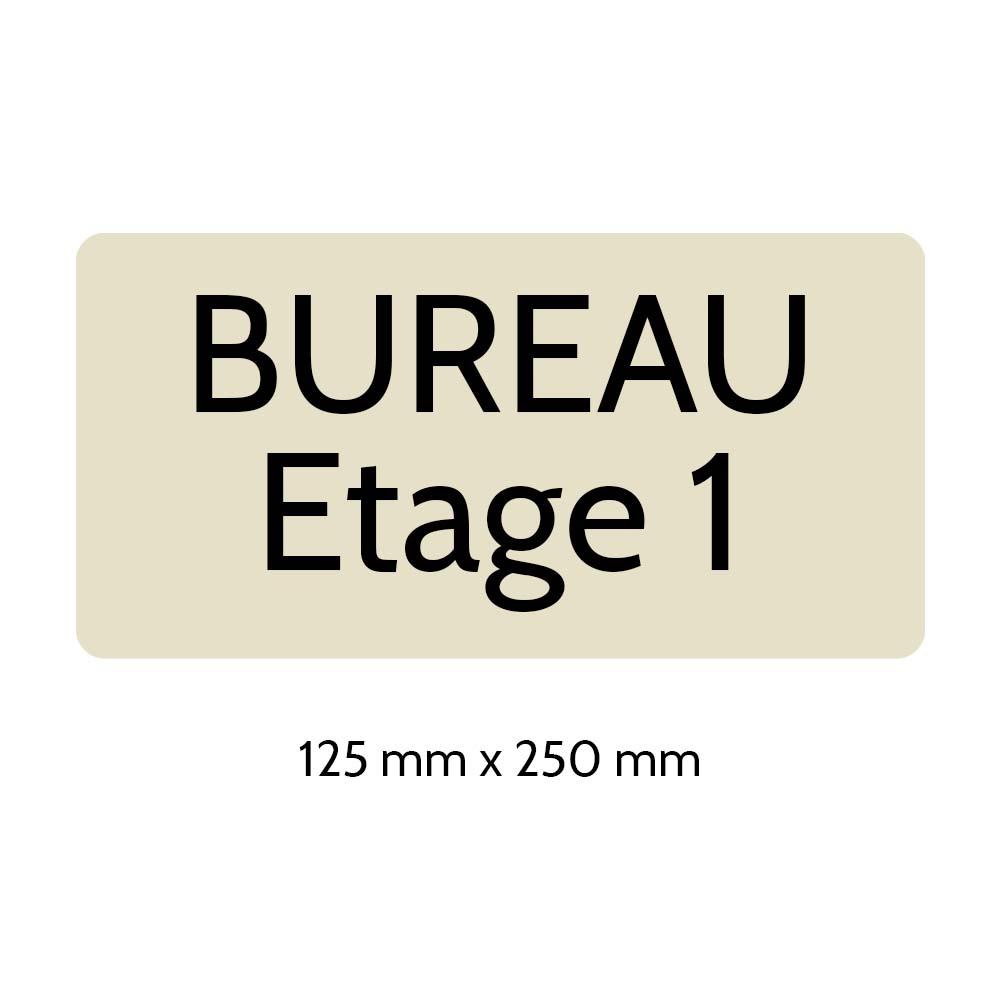 Plaque de porte gravée sur 1 à 2 lignes couleur beige lettres noires - Rectangle angles arrondis 125 x 250 mm