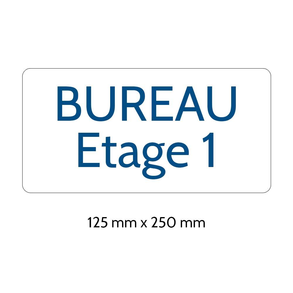 Plaque de porte gravée sur 1 à 2 lignes couleur blanche lettres bleues - Rectangle angles arrondis 125 x 250 mm