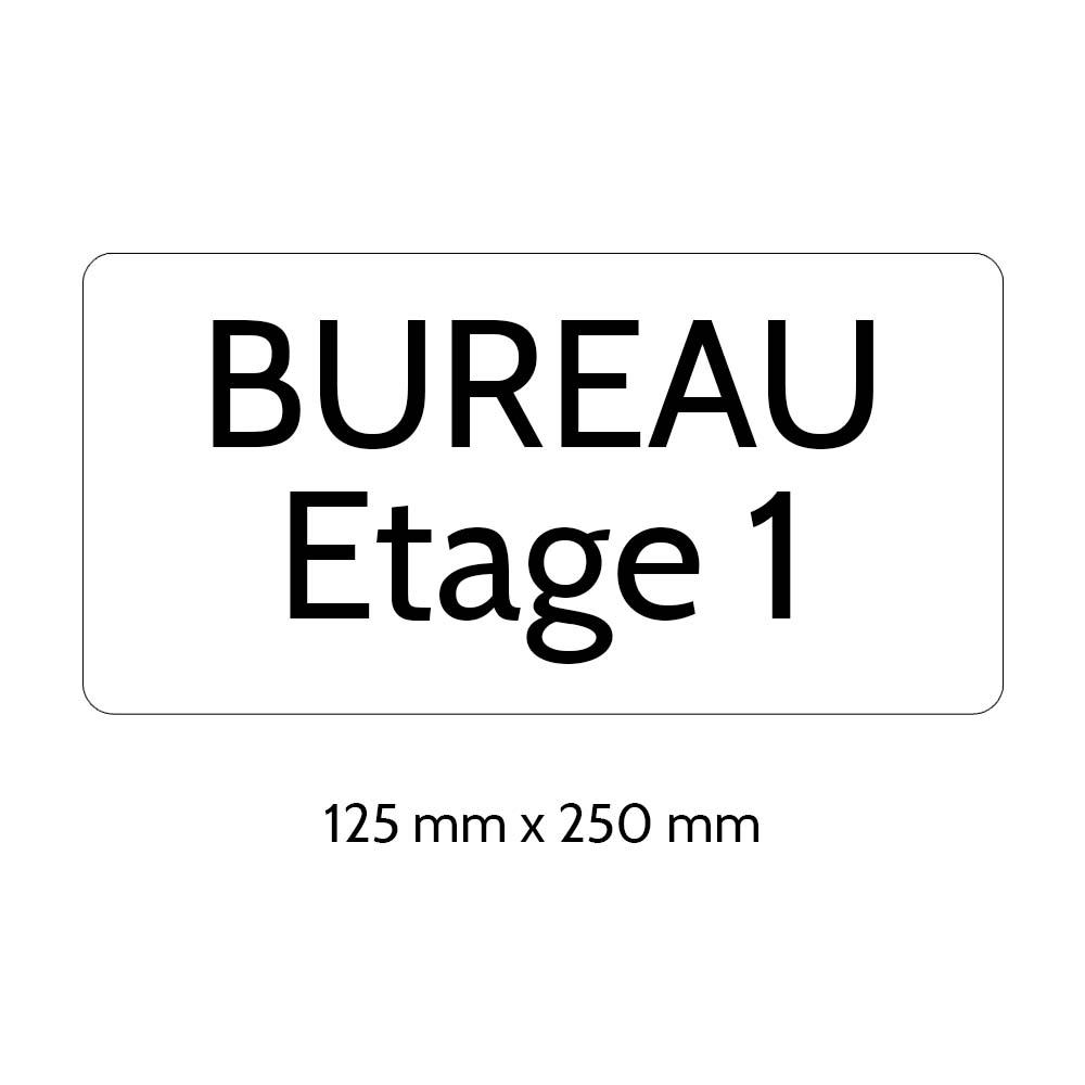 Plaque de porte gravée sur 1 à 2 lignes couleur blanche lettres noires - Rectangle angles arrondis 125 x 250 mm