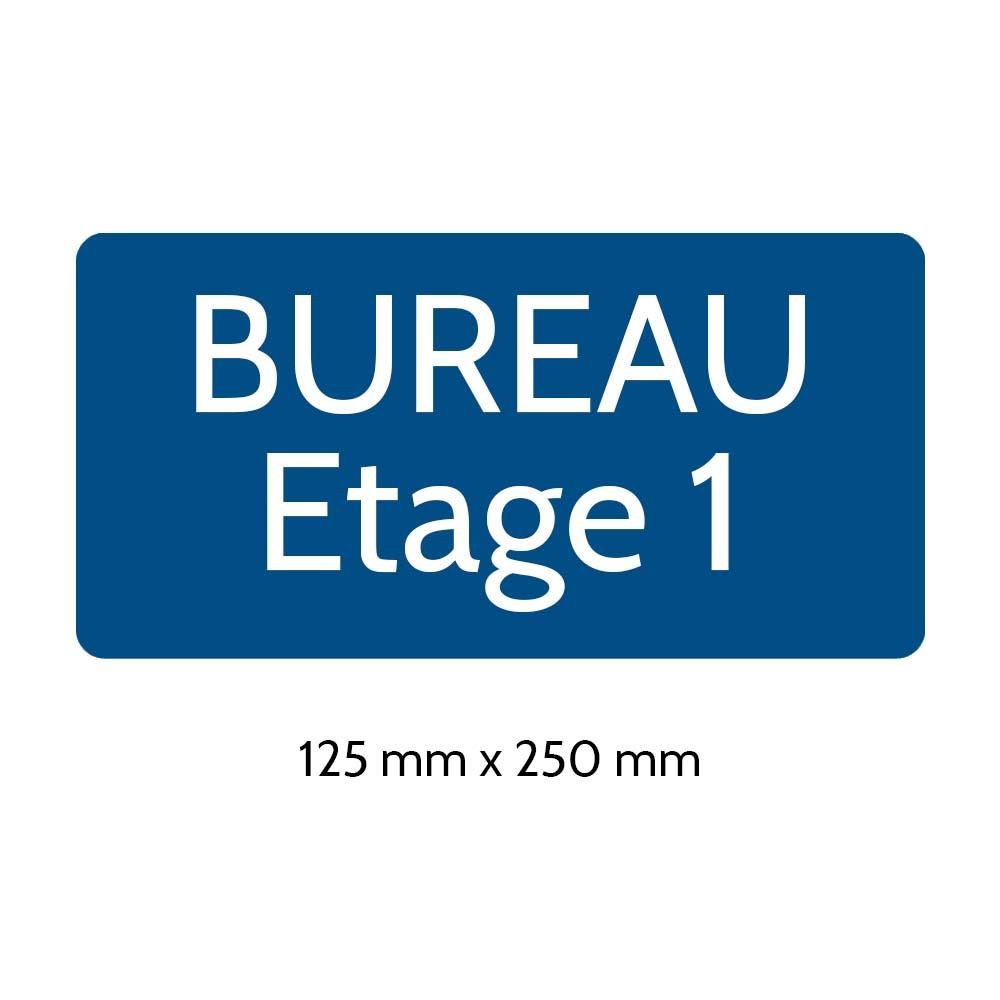 Plaque de porte gravée sur 1 à 2 lignes couleur bleue lettres blanches - Rectangle angles arrondis 125 x 250 mm