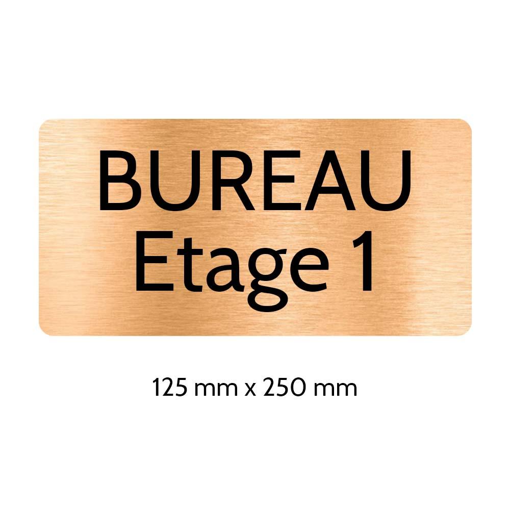 Plaque de porte gravée sur 1 à 2 lignes couleur cuivre lettres noires - Rectangle angles arrondis 125 x 250 mm
