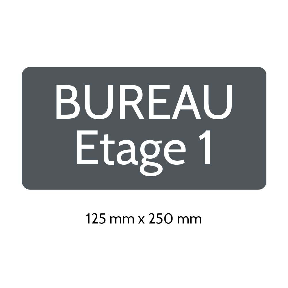 Plaque de porte gravée sur 1 à 2 lignes couleur grise lettres blanches - Rectangle angles arrondis 125 x 250 mm