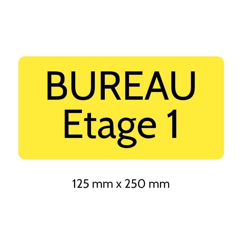 Plaque de porte gravée sur 1 à 2 lignes couleur jaune lettres noires - Rectangle angles arrondis 125 x 250 mm