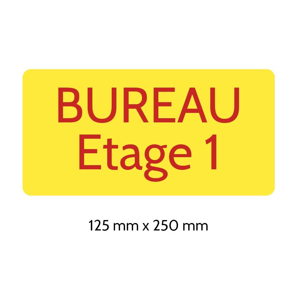 Plaque de porte gravée sur 1 à 2 lignes couleur Jaune lettres rouges - Rectangle angles arrondis 125 x 250 mm