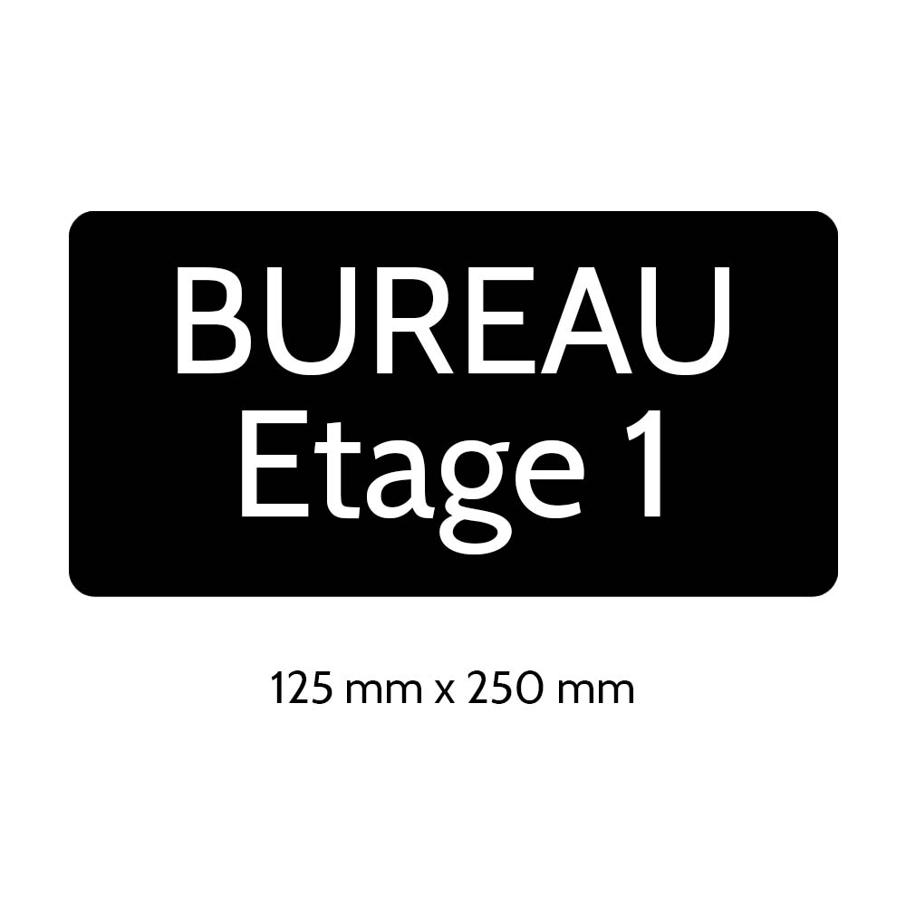 Plaque de porte gravée sur 1 à 2 lignes couleur noire lettres blanches - Rectangle angles arrondis 125 x 250 mm
