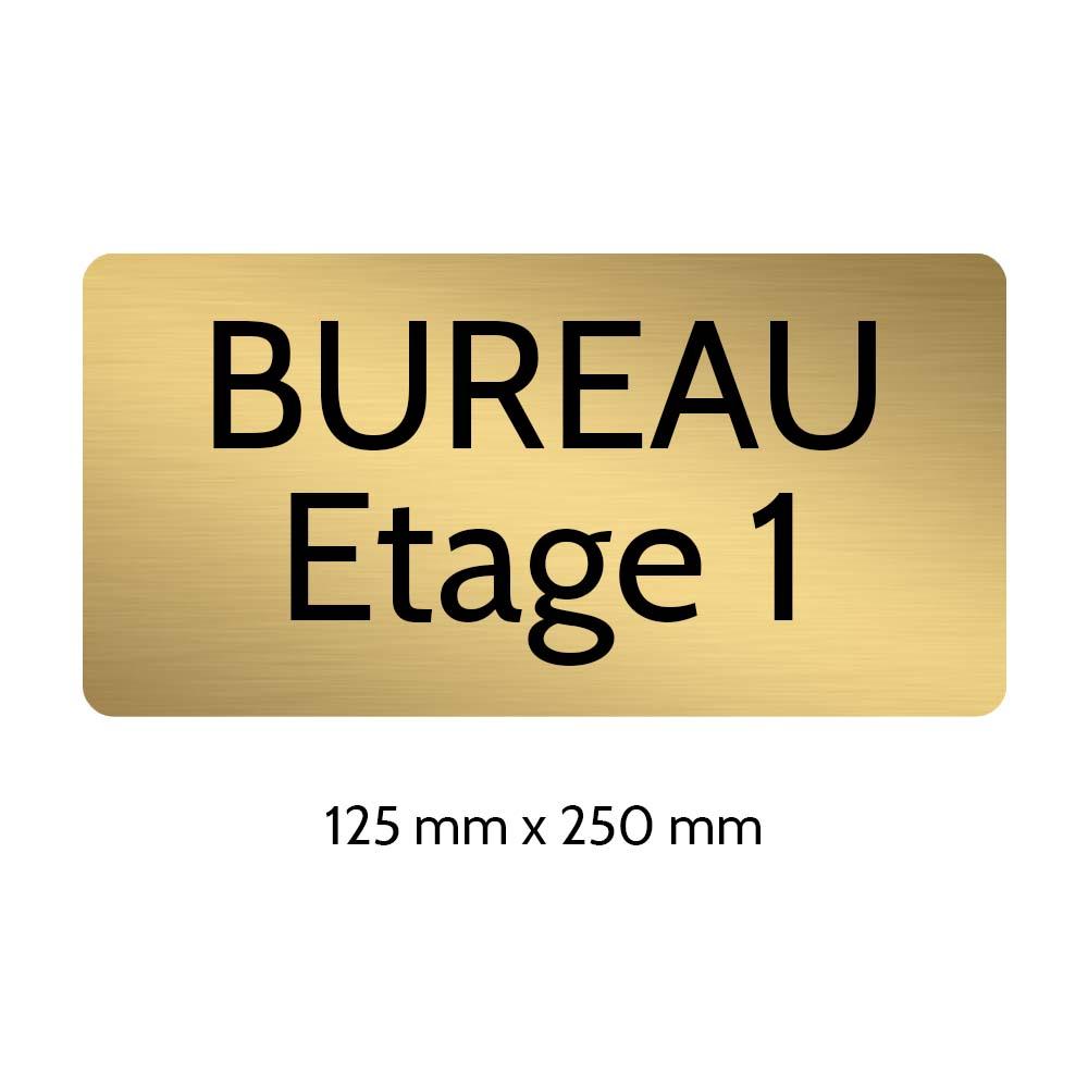 Plaque de porte gravée sur 1 à 2 lignes couleur or brossé lettres noires - Rectangle angles arrondis 125 x 250 mm