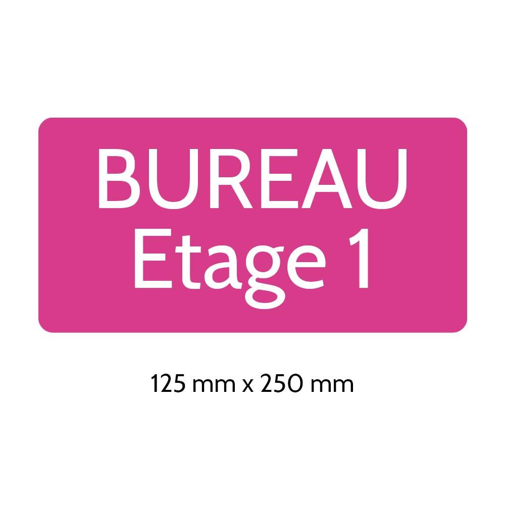 Plaque de porte gravée sur 1 à 2 lignes couleur rose lettres blanches - Rectangle angles arrondis 125 x 250 mm