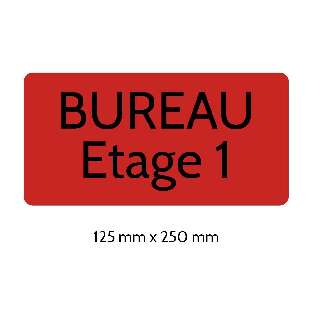 Plaque de porte gravée sur 1 à 2 lignes couleur rouge lettres noires - Rectangle angles arrondis 125 x 250 mm