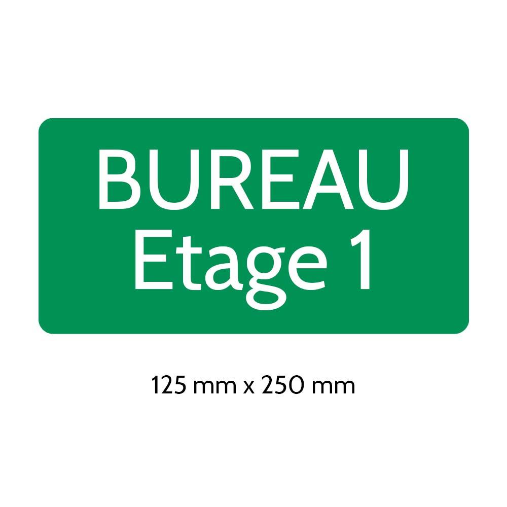 Plaque de porte gravée sur 1 à 2 lignes vert clair lettres blanches - Rectangle angles arrondis 125 x 250 mm
