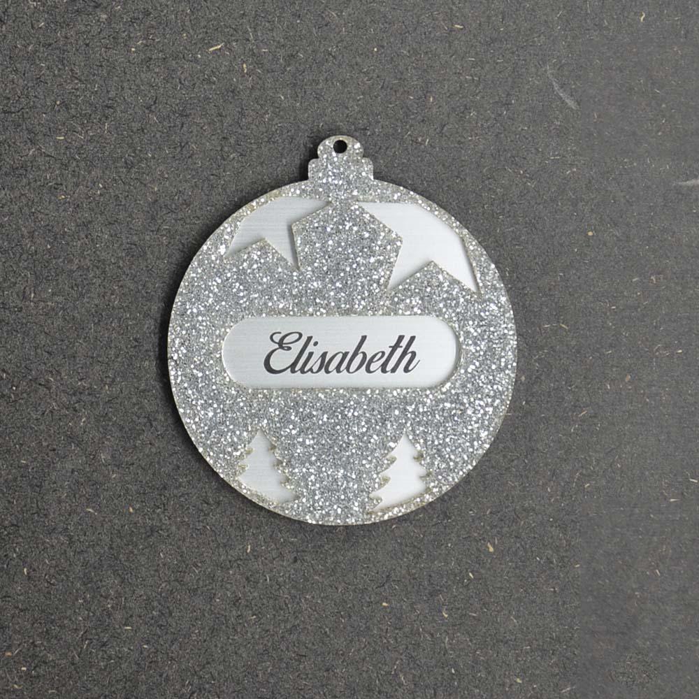 Boule de noël argent à paillettes personnalisée avec votre prénom - Cadeau Noël, décoration sapin Noël en acrylique