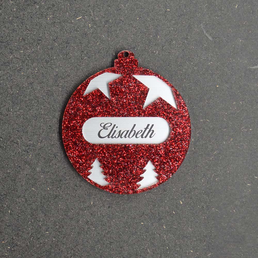 Boule de noël violette à paillettes personnalisée avec votre prénom - Cadeau Noël, décoration sapin Noël en acrylique