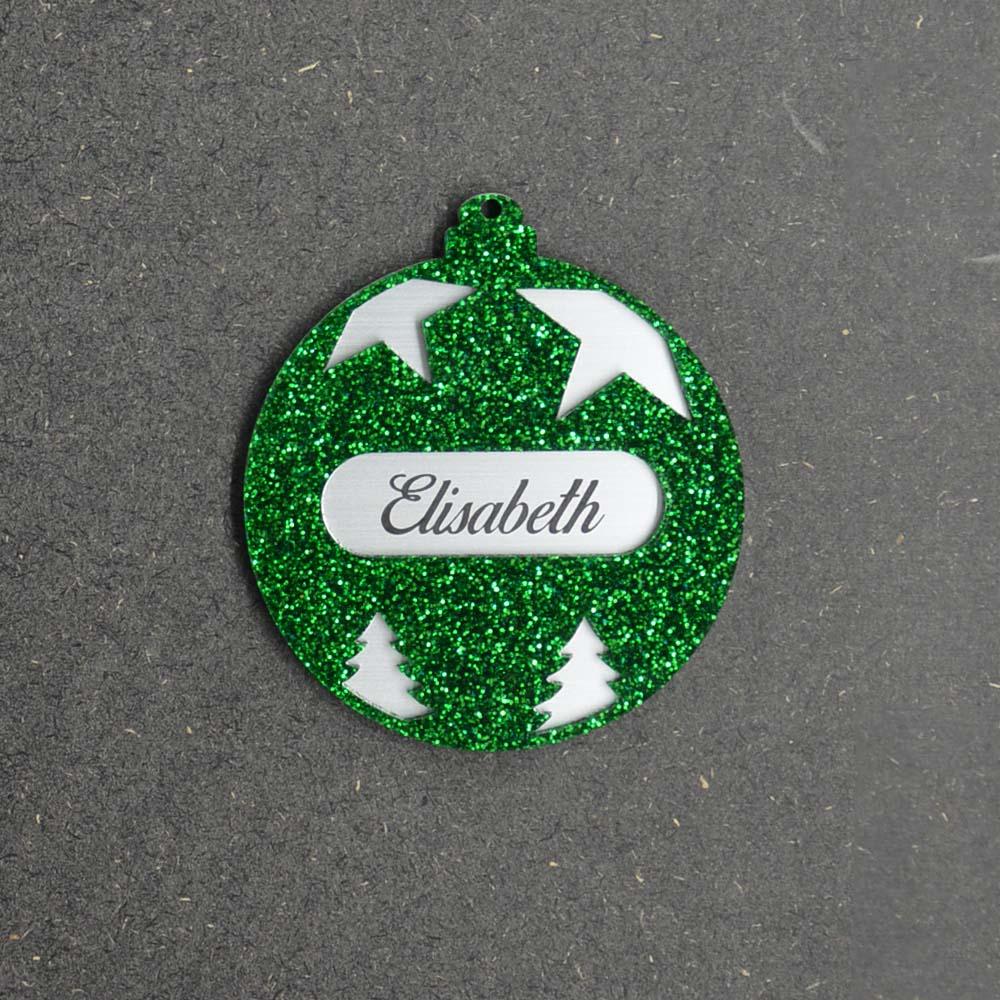 Boule de noël vert à paillettes personnalisée avec votre prénom - Cadeau Noël, décoration sapin Noël en acrylique