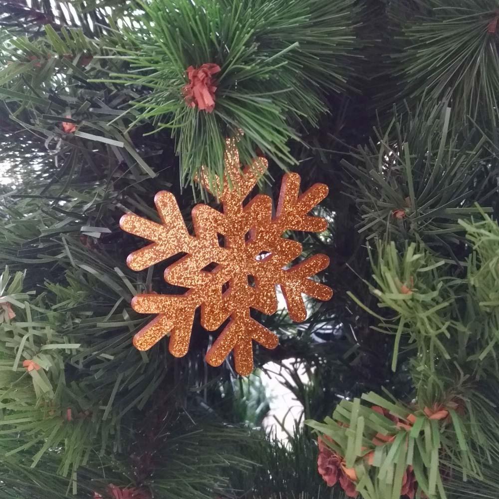 Pack 10 décorations de Noël couleur OR pour sapin de Noël - Décoration de Noël en acrylique par découpe laser