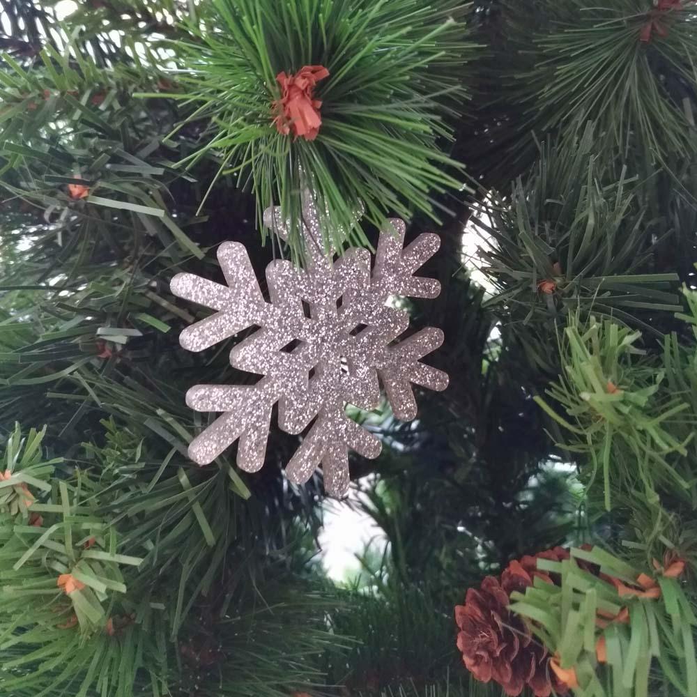 Pack 10 décorations de Noël couleur ARGENT pour sapin de Noël - Décoration de Noël en acrylique par découpe laser
