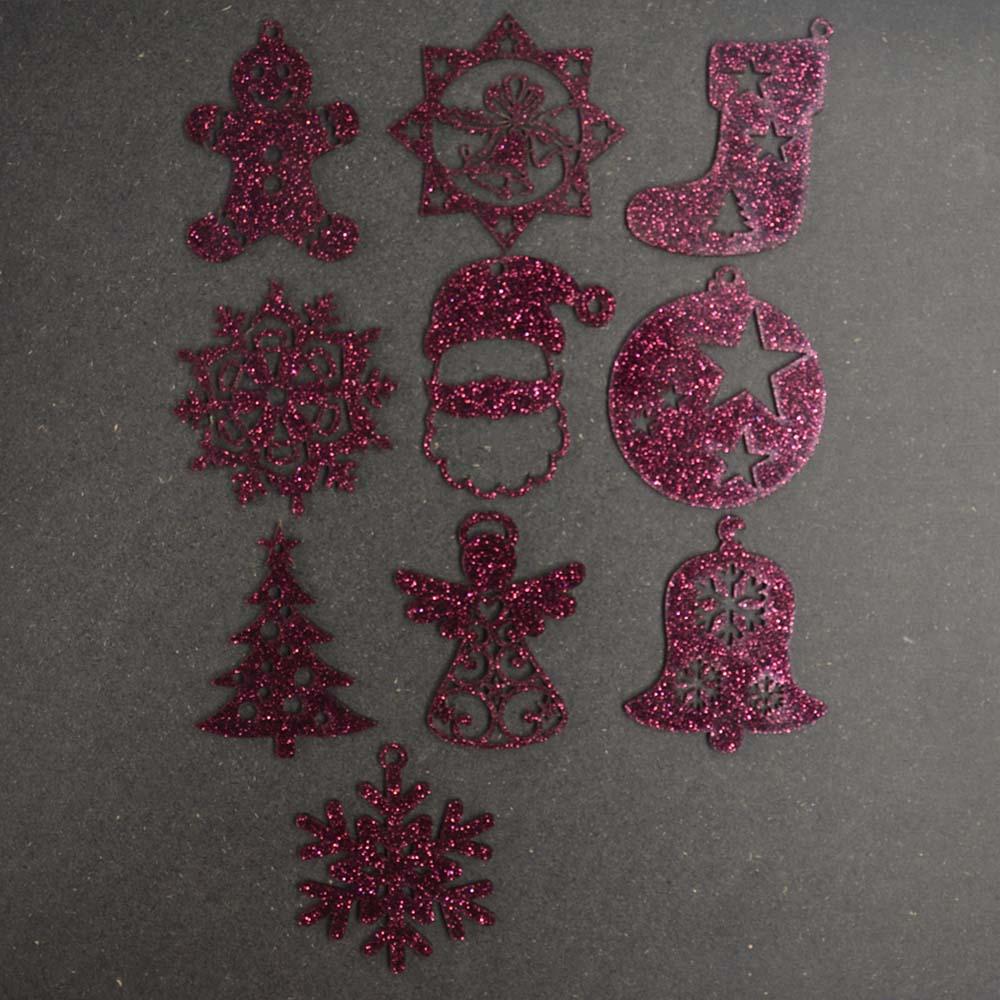 Pack 10 décorations de Noël couleur VIOLETTES pour sapin de Noël - Décoration de Noël en acrylique par découpe laser