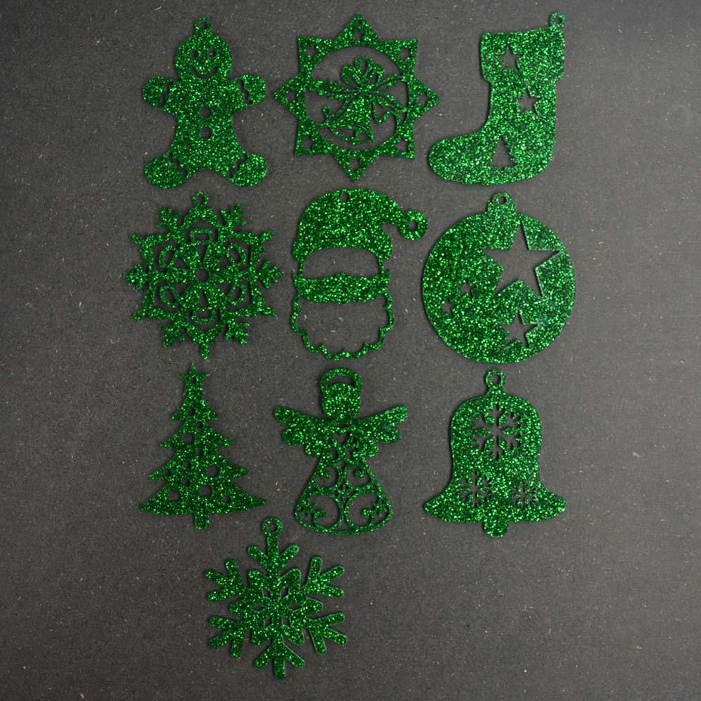 Pack 10 décorations de Noël couleur VERTES pour sapin de Noël - Décoration de Noël en acrylique par découpe laser