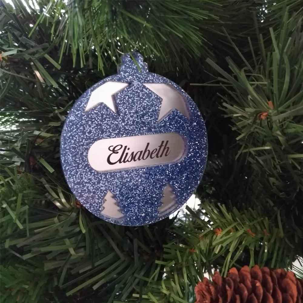 Boule de noël bleue à paillettes personnalisée avec votre prénom - Cadeau Noël, décoration sapin Noël en acrylique