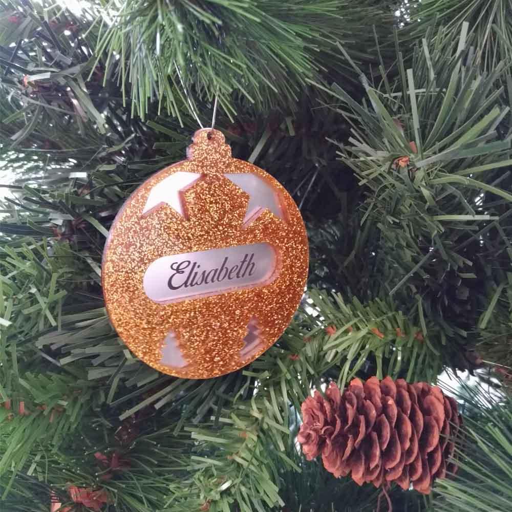Boule de noël or à paillettes personnalisée avec votre prénom - Cadeau Noël, décoration sapin Noël en acrylique