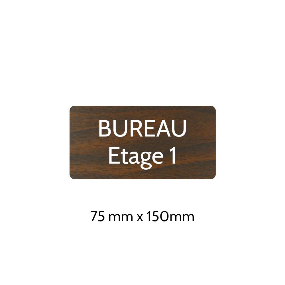 Plaque de porte gravée sur 1 à 2 lignes effet bois foncé lettres blanches - Rectangle angles arrondis 75 x 150 mm