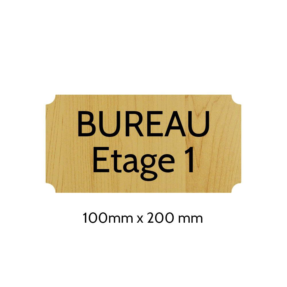 Plaque de porte gravée sur 1 à 2 lignes effet bois clair lettres noires - Format rectangle classique 100 x 200 mm