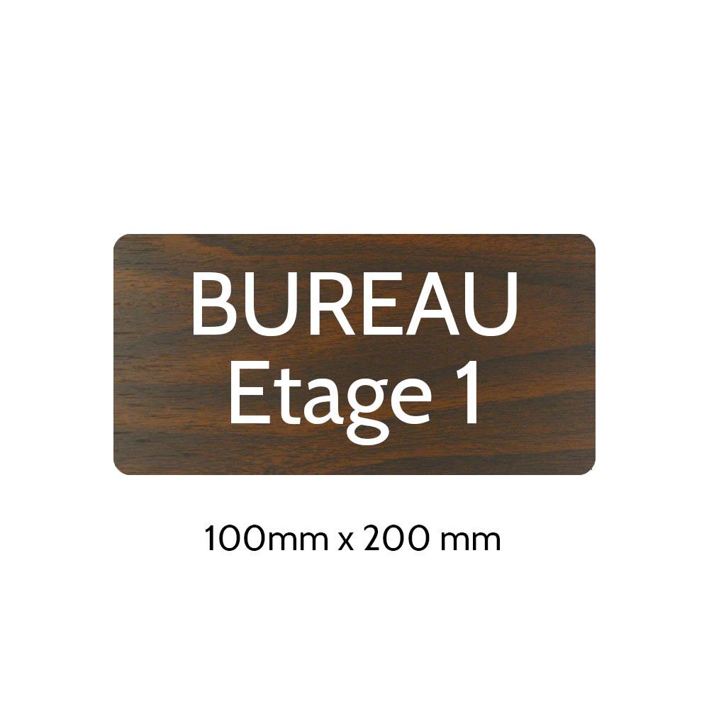 Plaque de porte gravée sur 1 à 2 lignes effet bois foncé lettres blanches - Rectangle angles arrondis 100 x 200 mm