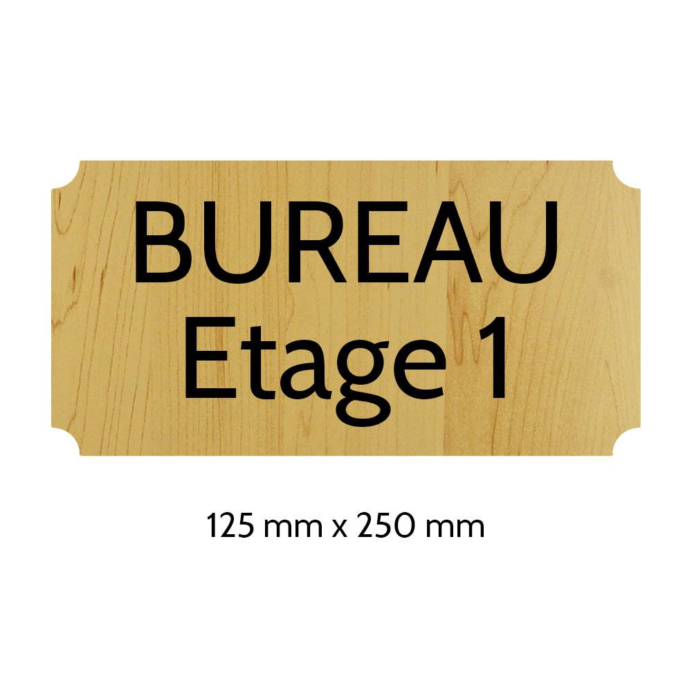 Plaque de porte gravée sur 1 à 2 lignes effet bois clair lettres noires - Rectangle classique 125 x 250 mm