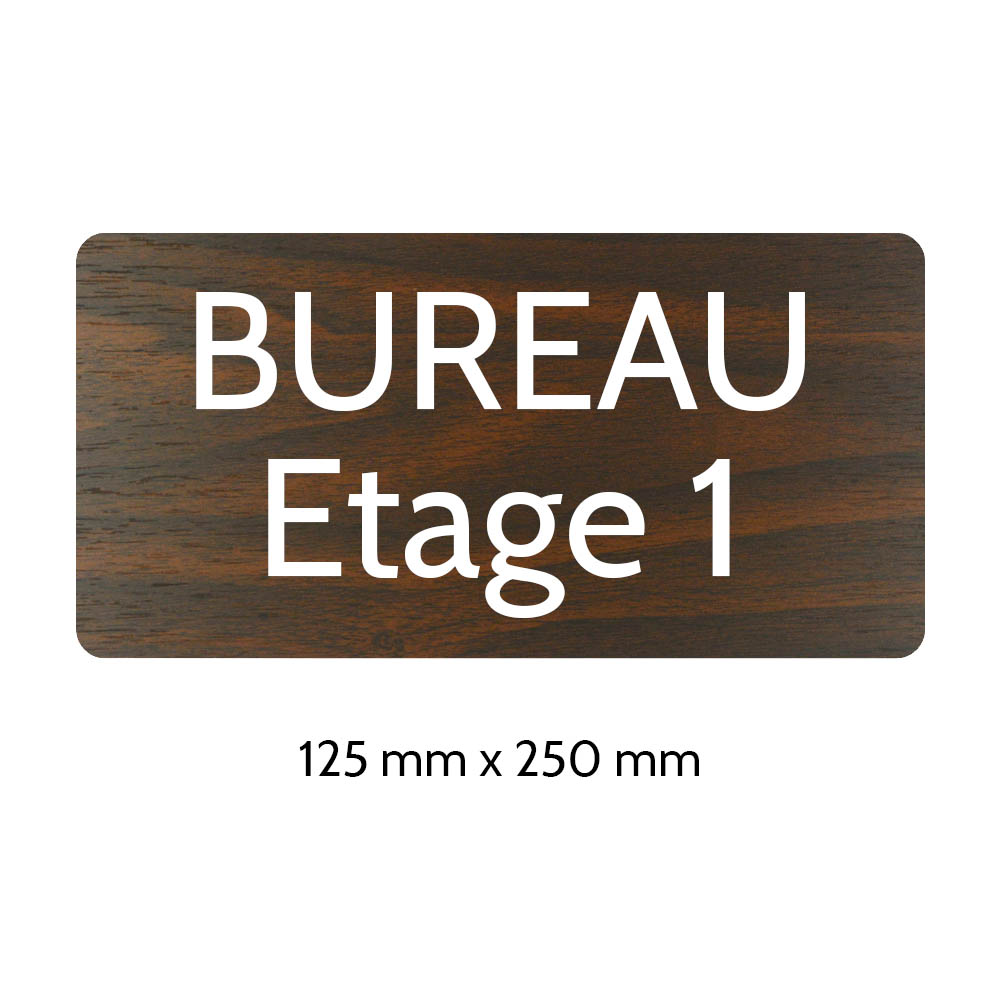 Plaque de porte gravée sur 1 à 2 lignes effet bois foncé lettres blanches - Rectangle angles arrondis 125 x 250 mm