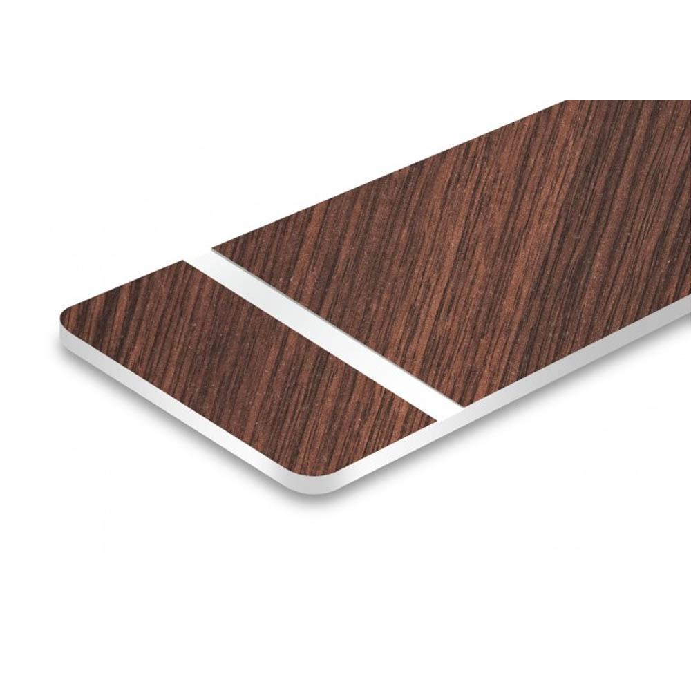 Plaque de porte gravée sur 1 à 2 lignes effet bois foncé lettres blanches - Rectangle angles arrondis 50 x 100 mm