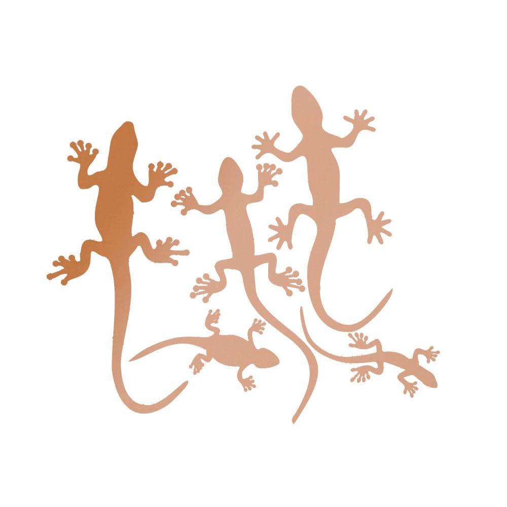 Lot 5 miroirs décoratifs Or Rose modèle lézards Gecko - Série Animaux - Miroir mural acrylique pour décoration intérieure