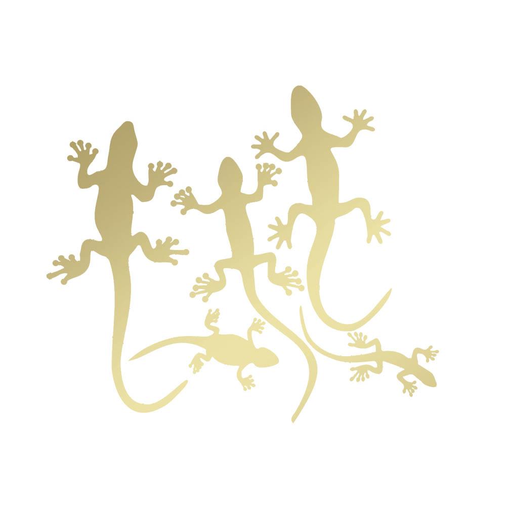 Lot 5 miroirs décoratifs Or modèle lézards Gecko - Série Animaux - Miroir mural acrylique pour décoration intérieure