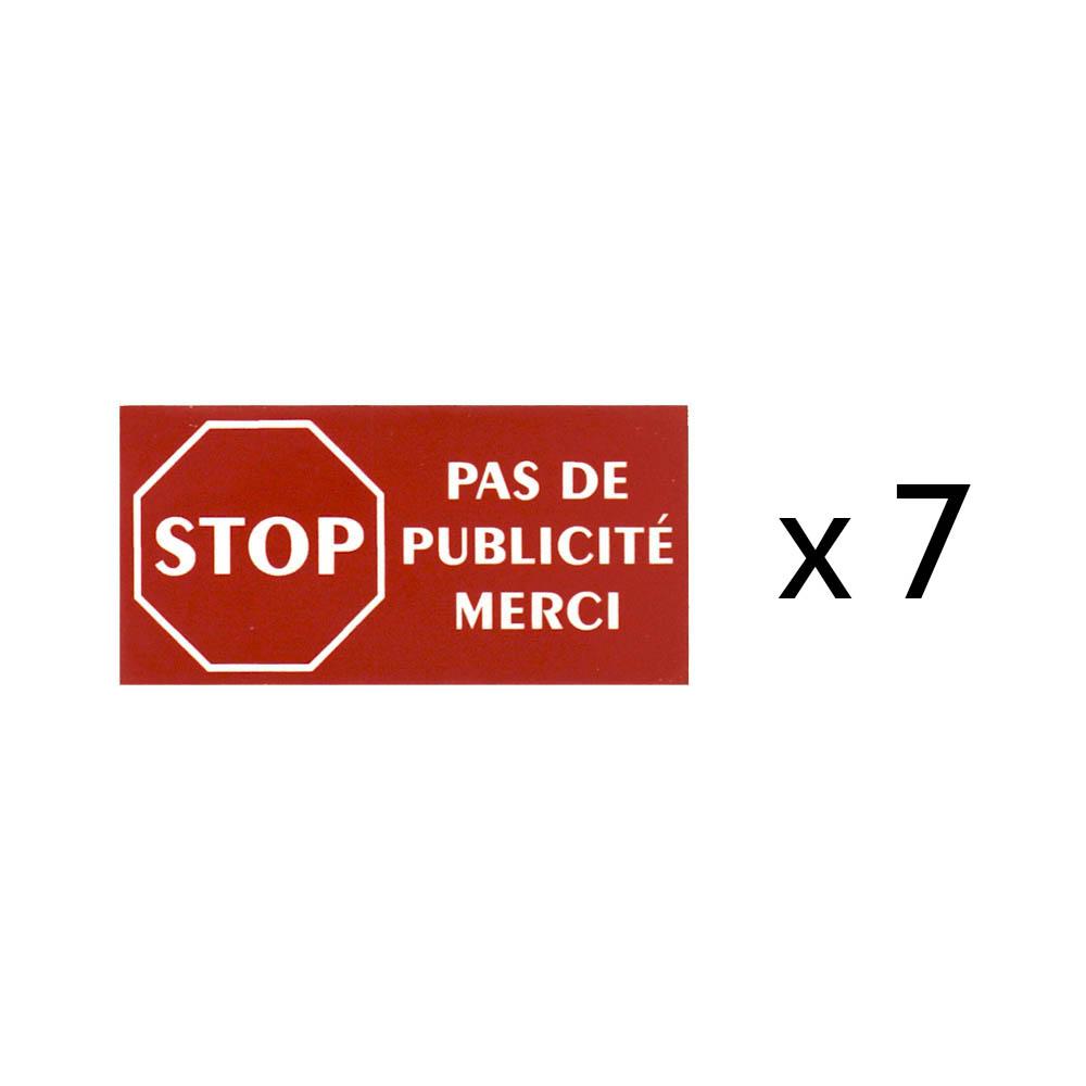 """Lot de 7 plaques Stop Pub logo """"STOP"""" pour recharge porte plaque buraliste, boulangerie, fleuriste"""